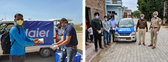 海尔印度为当地社区捐赠食物及防疫物资